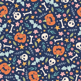 Nettes halloween-muster mit kürbisschädeln und gezeichneter illustration der blumen hand