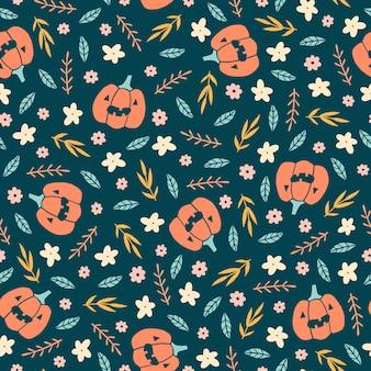 Nettes halloween-muster mit nahtlosem muster der kürbise und der blumen