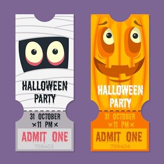 Nettes halloween tickets flaches design