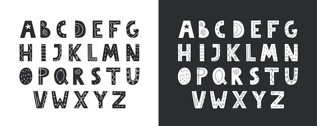 Nettes handgezeichnetes alphabet im vektor. doodle-buchstaben für ihr design.