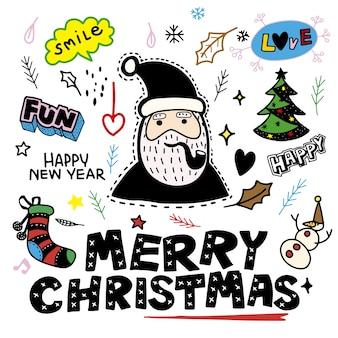 Nettes handgezeichnetes weihnachtskritzelset