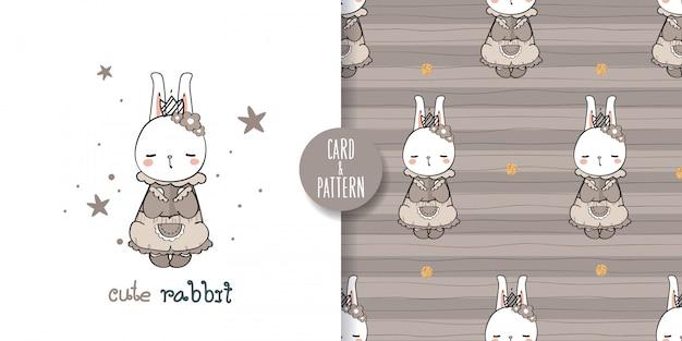Nettes haustier kaninchen zeichnungen hand gezeichnetes haustier tragen eines retro gemusterten kostüms gesten buntes gesicht lächeln in nahtlosen muster und illustration
