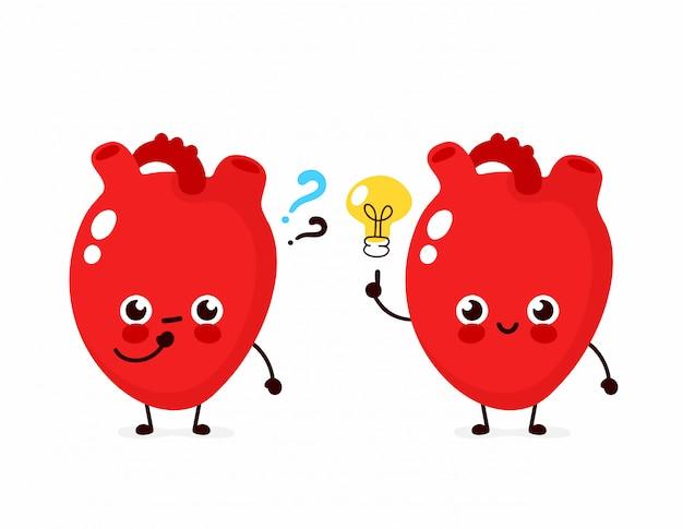 Nettes herz mit fragezeichen und glühlampencharakter. flache cartoon charakter abbildung symbol. isoliert auf weiss herz habe ahnung