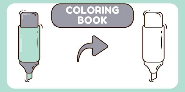 Nettes highlight handgezeichnetes cartoon-doodle-malbuch für kinder