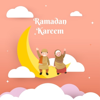 Nettes hijab-mädchen, das nachts auf dem mond sitzt und ramadan grüßt