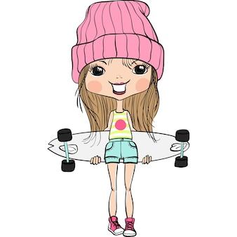 Nettes hipster-modemädchen im hut und in den turnschuhen mit skateboard
