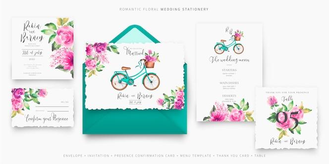 Nettes hochzeitsbriefpapier eingestellt mit fahrrad und blumen