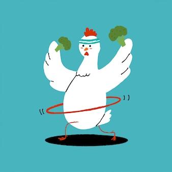 Nettes huhn, das übungen mit hula hoop und brokkoli macht. cartoon vogel charakter isoliert. illustration des gesunden lebensmittel- und fitnesskonzepts.