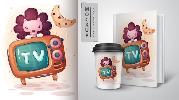 Nettes igelfernsehplakat und merchandising