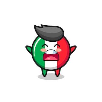 Nettes italienisches flaggenmaskottchen mit einem gähnenden ausdruck, süßes stildesign für t-shirt, aufkleber, logoelement