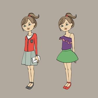 Nettes jugendlich mädchen in zwei modeausstattungen