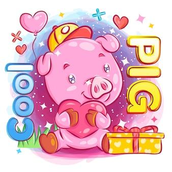 Nettes jungen-schwein, das in liebe mit valentinstag-geschenkillustration glaubt