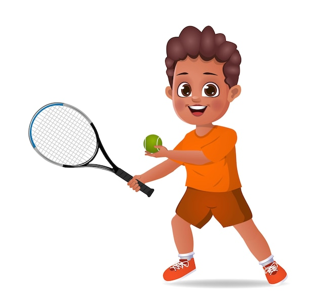 Nettes jungenkind, das tennis spielt
