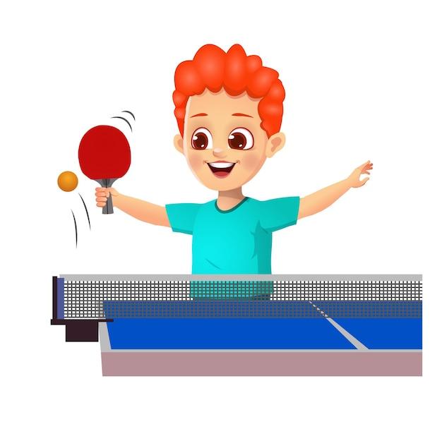 Nettes jungenkind, das tischtennis spielt
