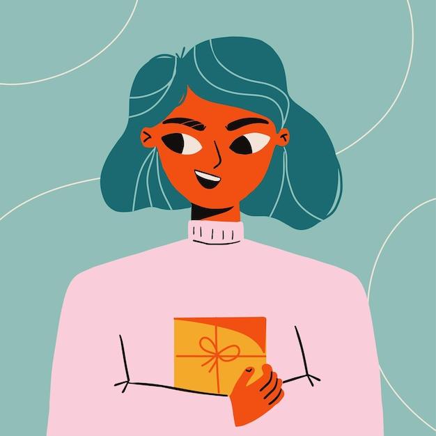 Nettes junges mädchen mit geschenkbox. festliche ferienveranstaltung. valentinstag grußkarte illustration