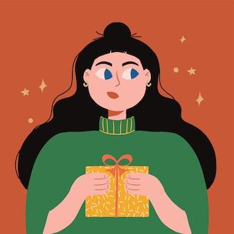 Nettes junges mädchen mit weihnachtsgeschenkbox festliches feiertagsereignis