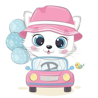 Nettes kätzchen, das das auto fährt.