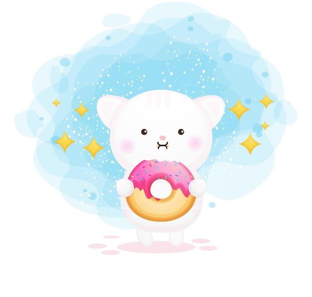 Nettes kätzchen, das donuts-karikatur hält