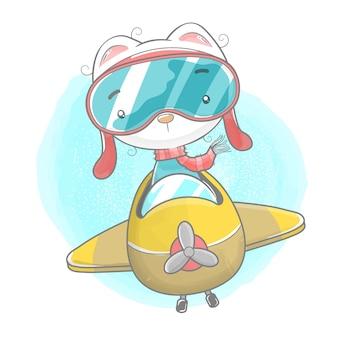 Nettes kätzchen, das flugzeug im aquarell reitet