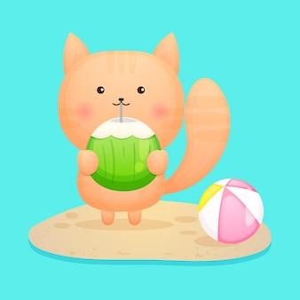 Nettes kätzchen, das kokosnuss-sommerkarikatur hält