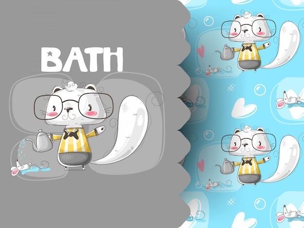 Nettes kätzchen, das mausmuster badet