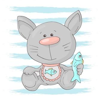 Nettes kätzchen der postkarte mit fischen. cartoon-stil