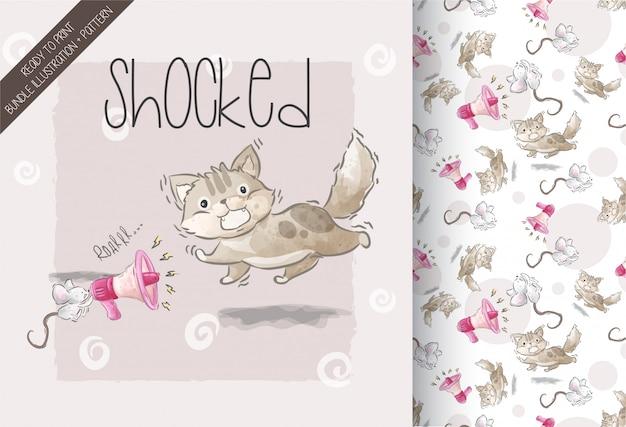 Nettes kätzchen entsetzte illustration mit nahtlosem muster