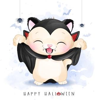 Nettes kätzchen für halloween-tag mit aquarellillustration