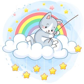 Nettes Kätzchen im Himmel, Fischersterne