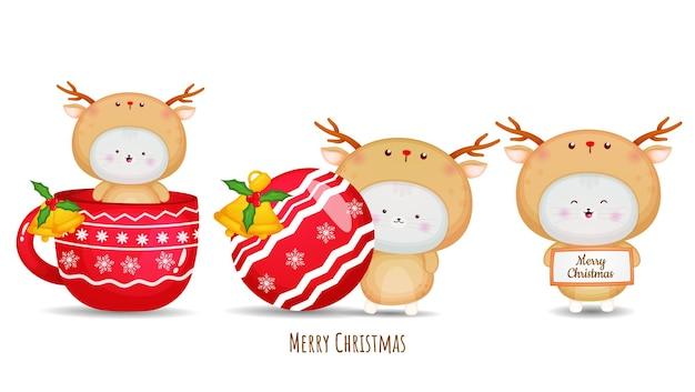 Nettes kätzchen im hirschkostüm für frohe weihnachten-illustrationssatz premium-vektor