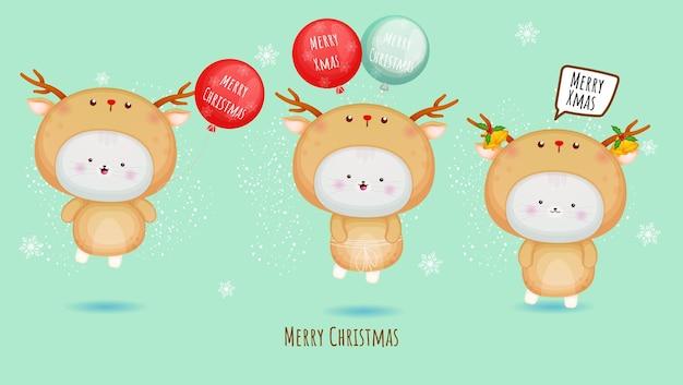 Nettes kätzchen im hirschkostüm für frohe weihnachten mit ballonillustrationssatz premium-vektor