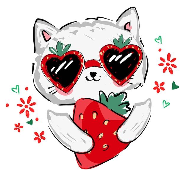 Nettes kätzchen in sonnenbrille und erdbeervektorillustration handgezeichnete kinder-sommertrend-druckskizze katze