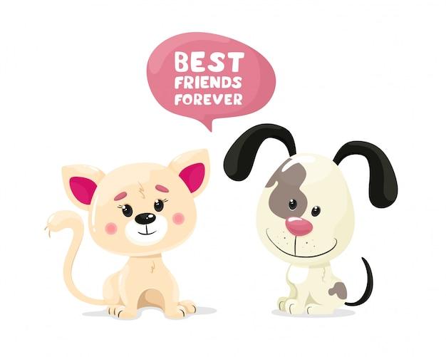 Nettes kätzchen und welpenfreunde für immer, textblase mit beschriftung. illustration im flachen stil der karikatur auf einem weißen hintergrund.