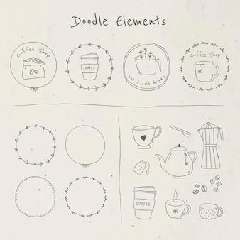 Nettes kaffee-doodle-tagebuch-aufkleber-set