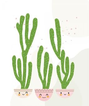 Nettes kaktus-illustrations-bündel