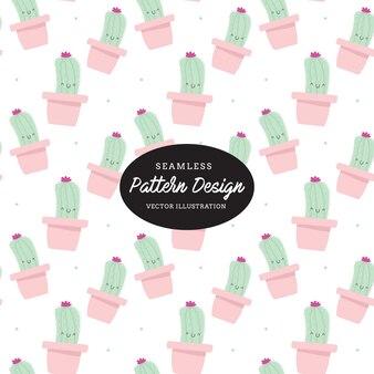 Nettes kaktusmuster blätter und blumen hand gezeichnet, design für einladung, hochzeit oder grußkarten