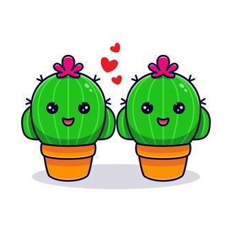 Nettes kaktuspaar verliebt sich. flacher cartoon