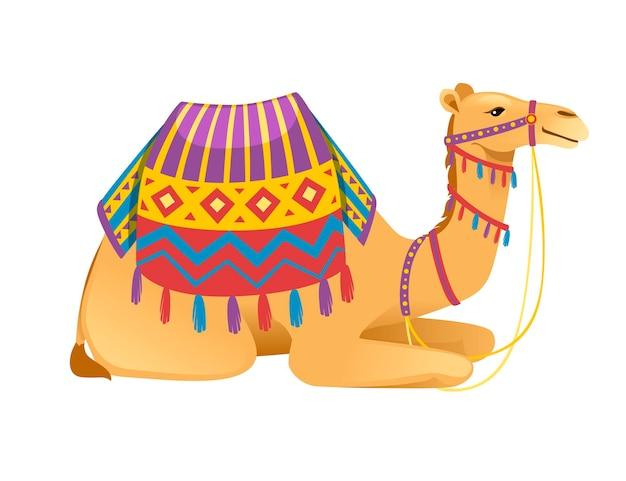 Nettes kamel mit zwei höckern mit zaum und sattel, das auf der flachen vektorillustration des bodenkarikaturtierdesigns lokalisiert auf weißem hintergrund sitzt.