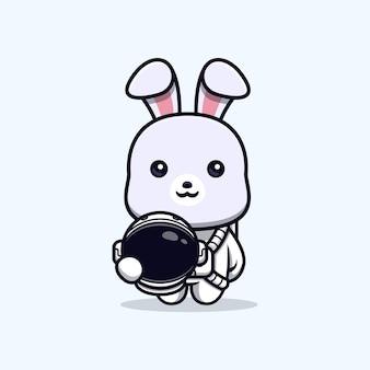 Nettes kaninchen, das astronautenanzug trägt und helmtiermaskottchencharakter hält