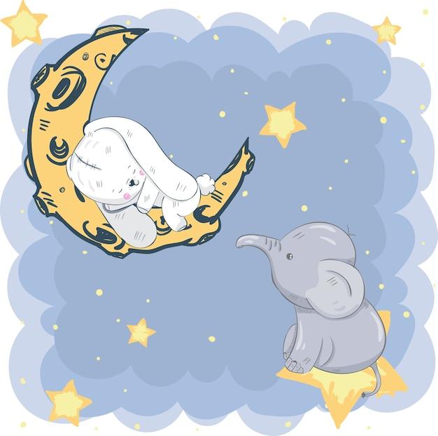Nettes kaninchen, das auf dem mond schläft, der elefant ist der stern