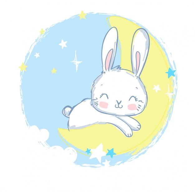 Nettes kaninchen, das auf dem mond schläft.