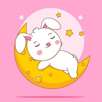 Nettes kaninchen, das auf der mondzeichentrickfilm-figur schläft