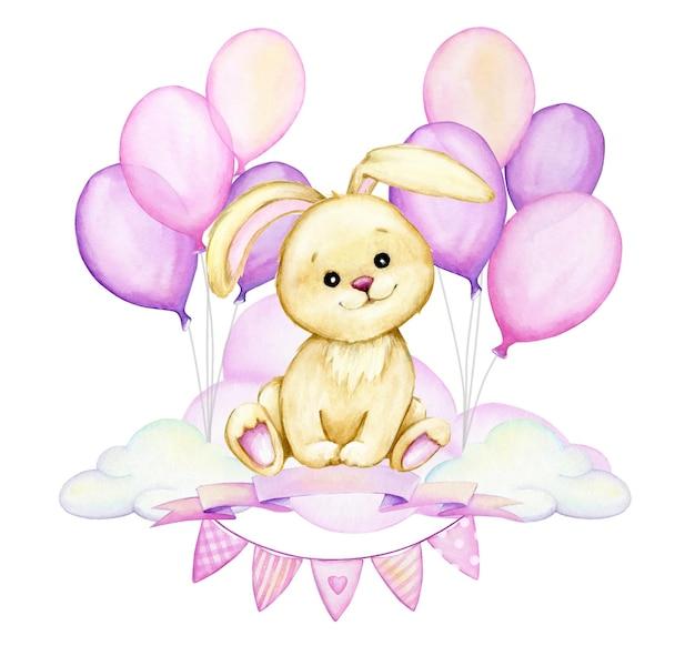 Nettes kaninchen, das auf einer wolke sitzt, auf einem hintergrund von rosa luftballons. aquarell cliparts im cartoon-stil.