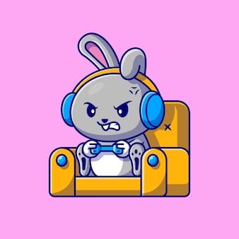 Nettes kaninchen, das auf sofa-karikatur spielt