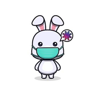 Nettes kaninchen, das eine maske trägt, um den tiermaskottchencharakter des virus zu verhindern
