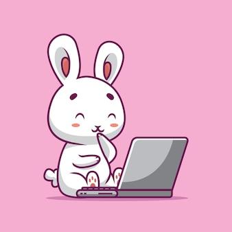 Nettes kaninchen, das film auf laptop-karikaturillustration sieht