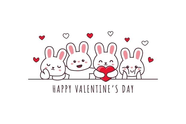 Nettes kaninchen, das glückliches valentinstag-gekritzel zeichnet
