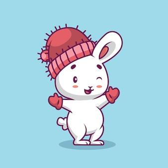 Nettes kaninchen, das handschuh und hutkarikaturillustration trägt