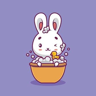 Nettes kaninchen, das in der badewannen-karikaturillustration badet