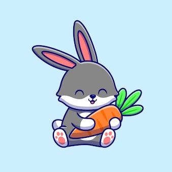 Nettes kaninchen, das karotten-karikatur-symbol-illustration umarmt. tierfutter-symbol-konzept isoliert. flacher cartoon-stil